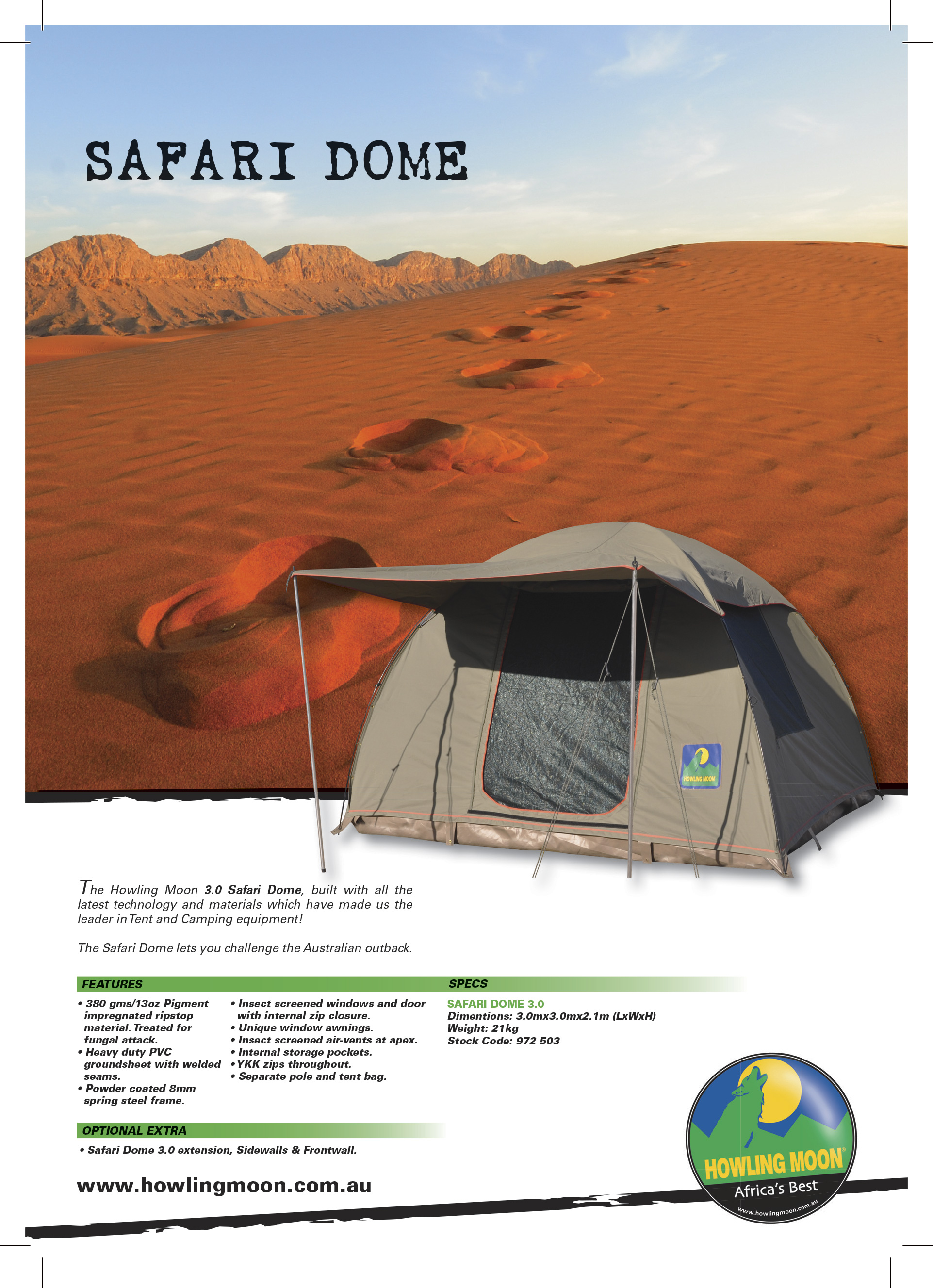 Additional information  sc 1 st  Wolf 4x4 & Howling Moon Safari Dome Canvas Tent